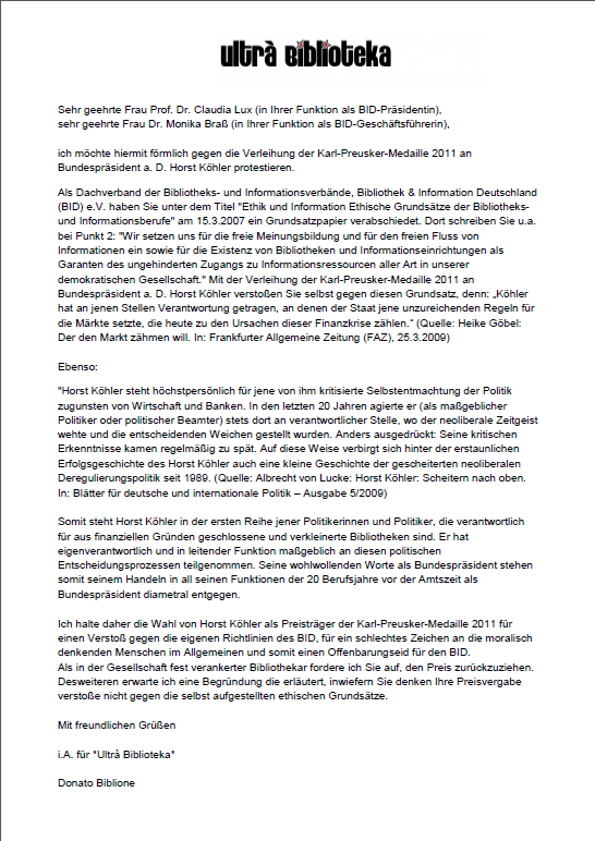 Offener Brief gegen die Verleihung der Karl-Preusker-Medaille 2011 an Bundespräsident a. D. Horst Köhler